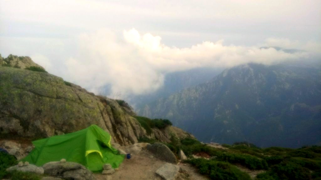 GR20: one of the numerous camping sites (Refuge d'Usciolu), my tent on the left