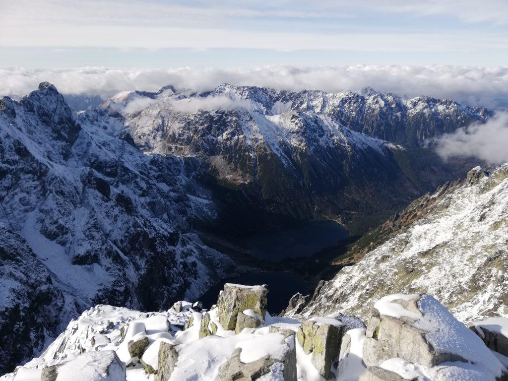 Rysy (2503 meters), view onto the Polish part of the High Tatras (Tatry Wysokie)