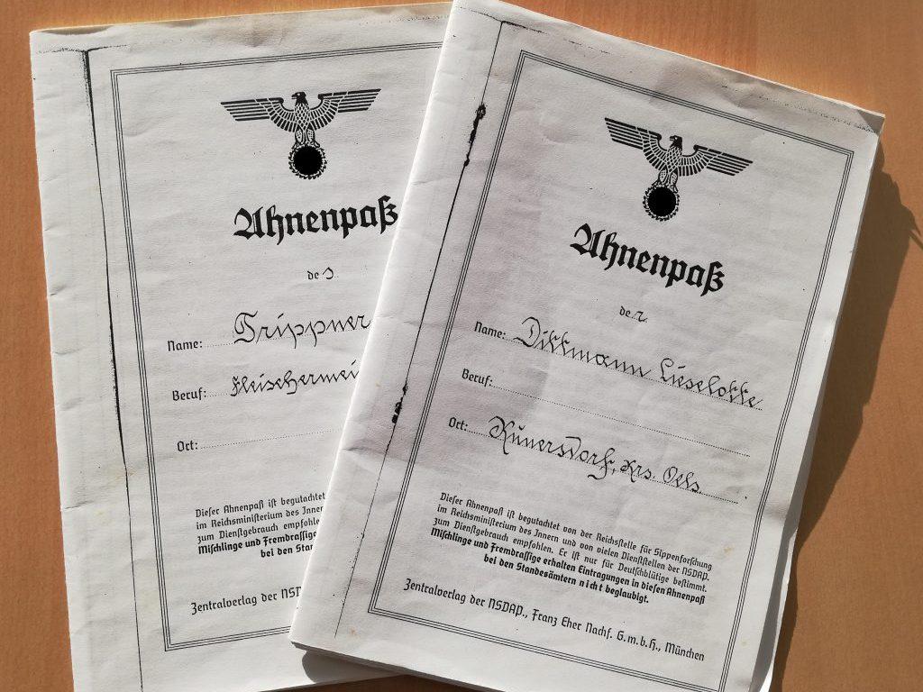 "Copies of the ""Ahnenpässe"" of my grandparents (Swastika digitally removed); Lieselotte Dittmann (1919-2005), Willy Trippner (1912-1979)"
