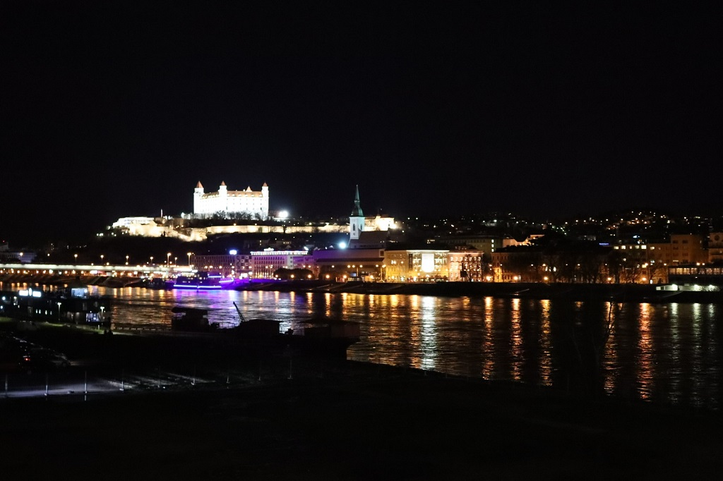 Bratislava at night, photo taken from the Old Bridge