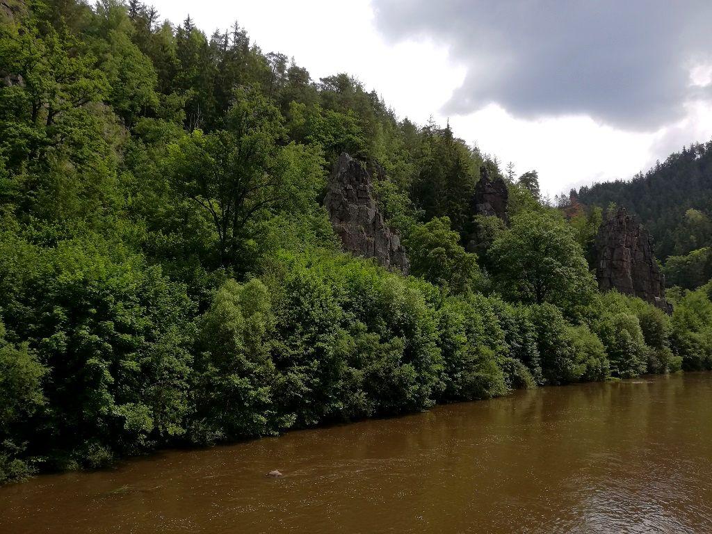 Famous stone formations (Svatošské skály) at the river Eger (Ohře) near Doubí