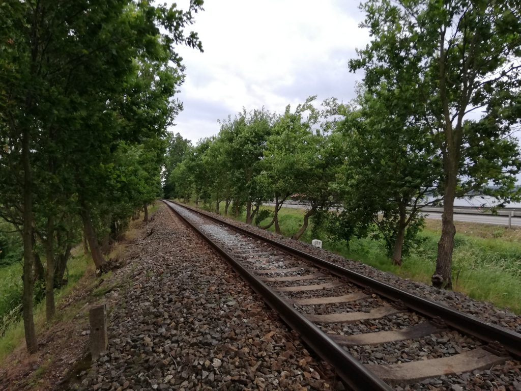 Railway, Káňov lake on the right hand side below the embankment