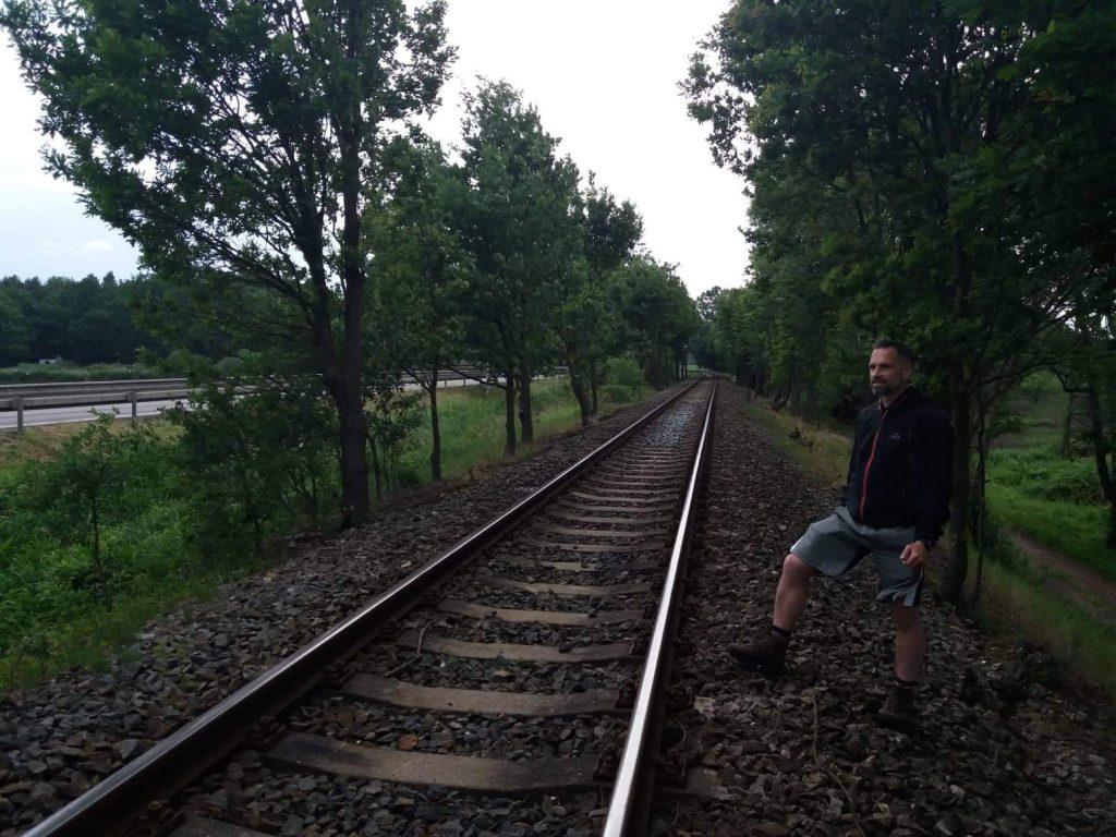 Railway, Káňov lake on the left hand side below the embankment
