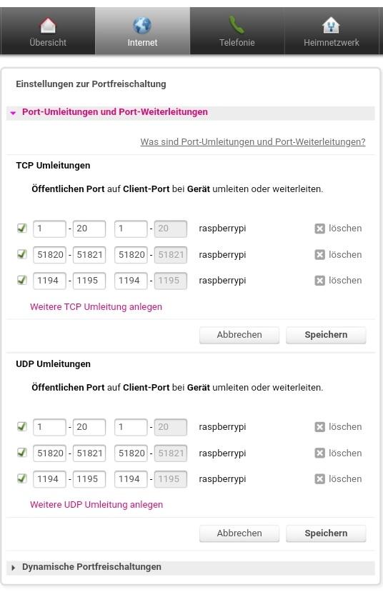 Konfiguration der Portweiterleitung für das VPN (letztlich genutzt wird UDP port 1194)