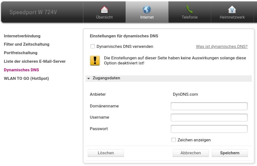 Konfigurationsbildschirm für das (optionale) DynDNS