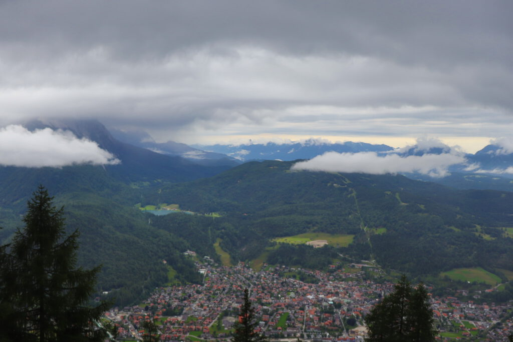 View onto Mittenwald from the Mittenwalder Hütte (1519 meters)