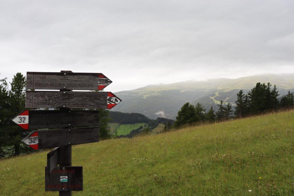Signpost at the Kofelwiese (2000 meters)