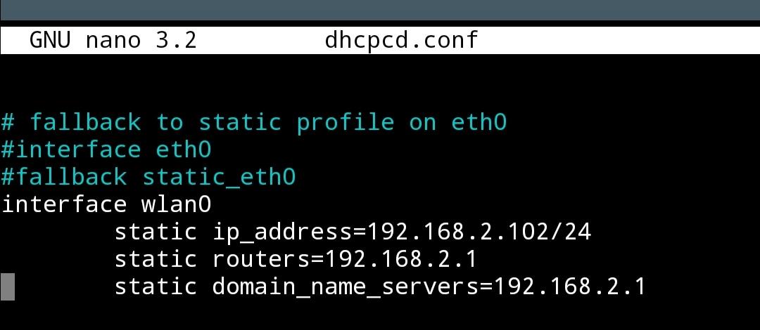 Einträge in der Datei dhcpcd.conf